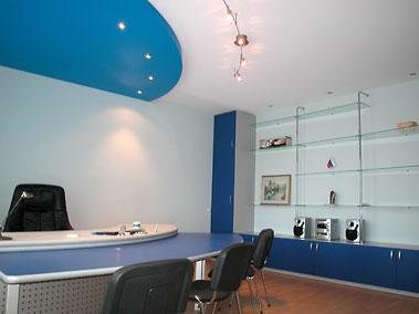 натяжные потолки в офисе. Дизайн.